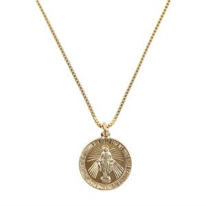Jewelry - Gold Filled Mary Medallion Pendant Charm Necklace